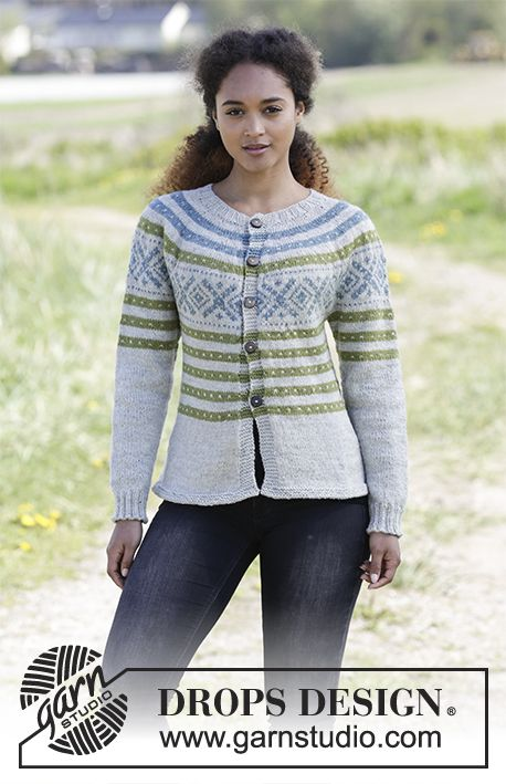 Nova Scotia Cardigan - Jacket with round yoke, multi-coloured pattern and A-shape, knitted top down. Size: S - XXXL Piece is knitted in DROPS Karisma. Free knitted pattern DROPS 180-21