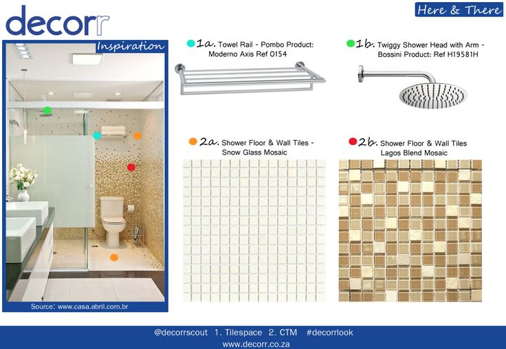 Here & There - Inspiration for a modern bathroom with mosaic tiles in  earthy tones of dry gold, pecan nut & lemony mist. Use the brown mosaic squares and replace it with the plain mosaics here and there to get this lovely pixelated effect. 1. http://www.decorr.co.za/tilespace/ 2. http://www.decorr.co.za/ctm/