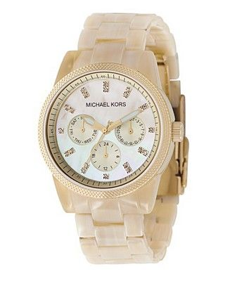 Michael Kors Watch in Horn....Relic makes almost same one ....and the Kors Relic Marc Jacobs are all made in the same Fossil factory!!!!!