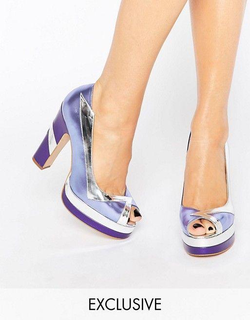 Terry de Havilland | Terry de Havilland Luna Lilac Peep Toe Heeled Shoes