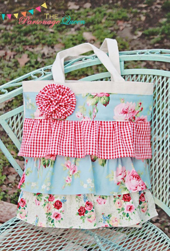 Retro Floral and Gingham Ruffled Tote Bag by TheParsonageQueen, $25.00