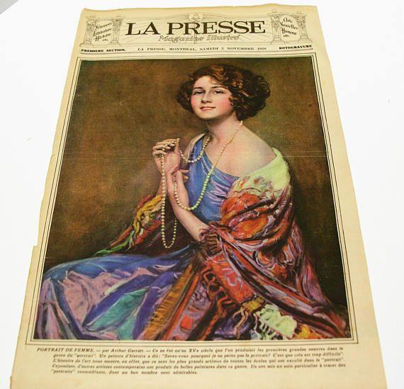 Rare Antique 1928 La Presse Newspaper Cover  Portrait of
