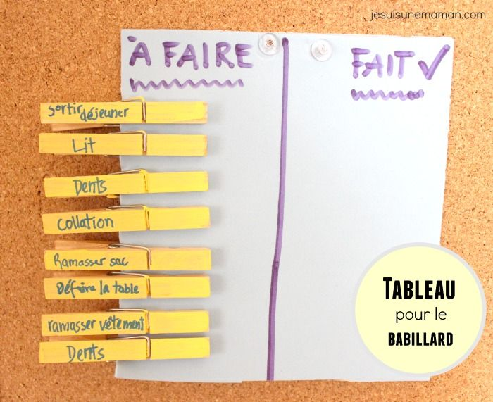 Tableau des tâches, avec picto et velcro pour jeunes enfants