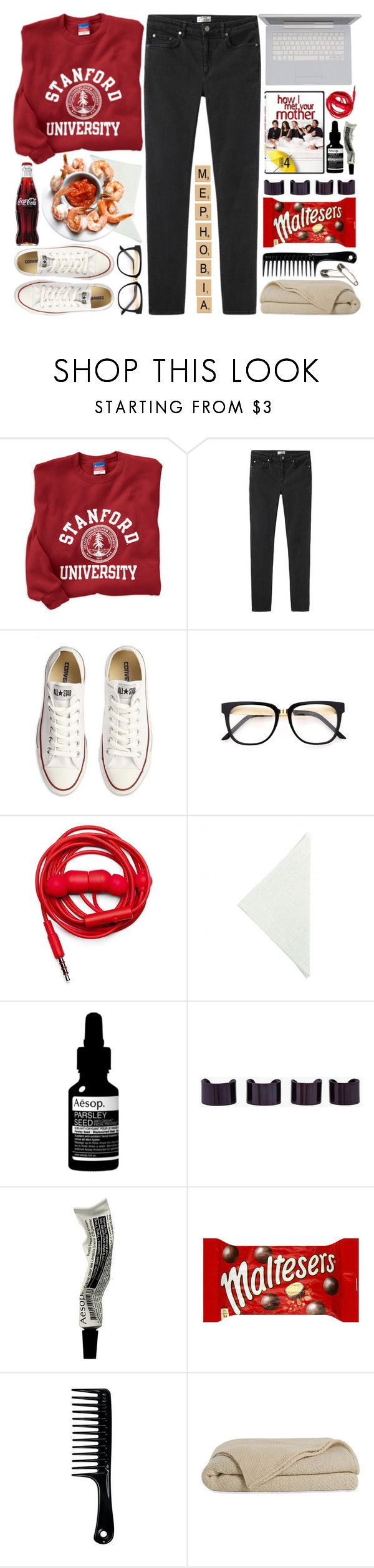 """""""Mephobia"""" by poppyy-92 ❤ liked on Polyvore featuring Acne Studios, Converse, Urbanears, Moltex, Aesop and Maison Margiela"""