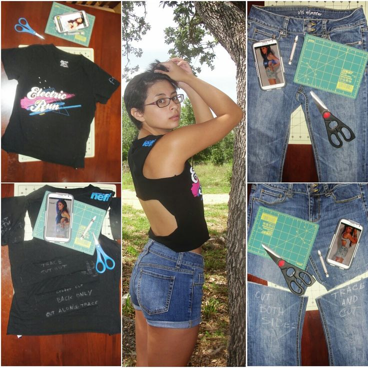 Easy Fashion DIY: How to up-cycle an old t-shirt into a comfortable tank & re-purpose those old Victoria's Secret hipster jeans into cut-offs … perfect for any day out in this Texas heat.