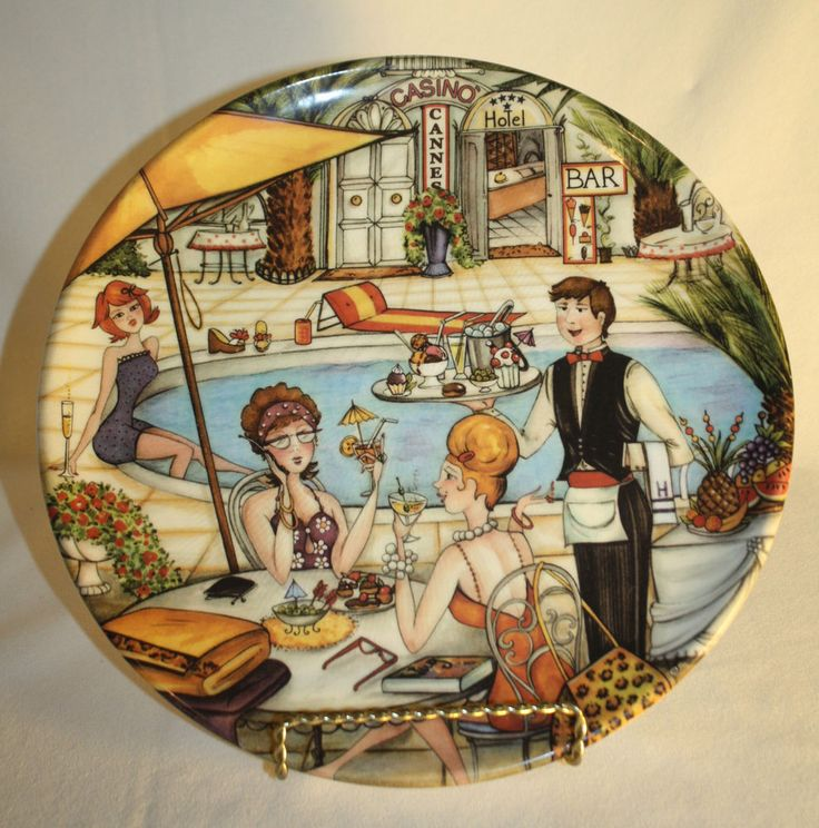 vintage decorative wall plate casino bistro outdoor cafe made italy handpainted