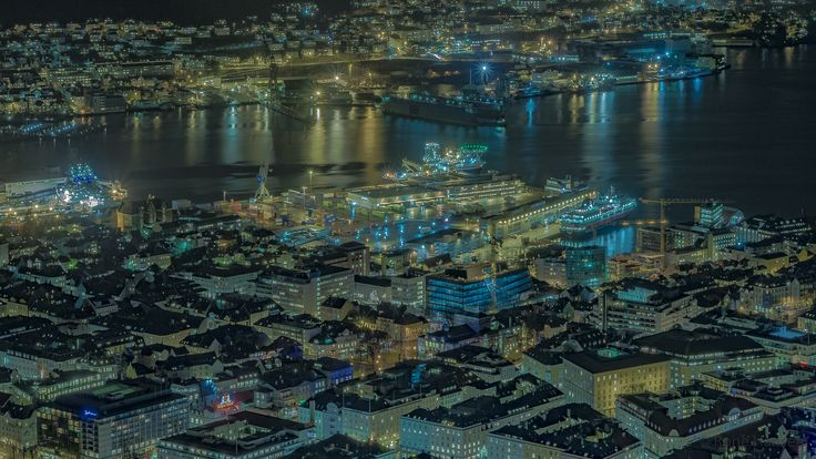 Bergen port by night by Rune Hansen on 500px