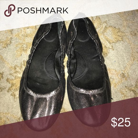Calvin Klein Metallic Flats Perfect condition. Light wear only noticeable on bottom sole of shoe. Calvin Klein Shoes Flats & Loafers