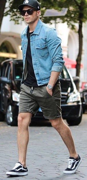 Black T-Shirt, Shorts, Denim Jacket With Sneakers