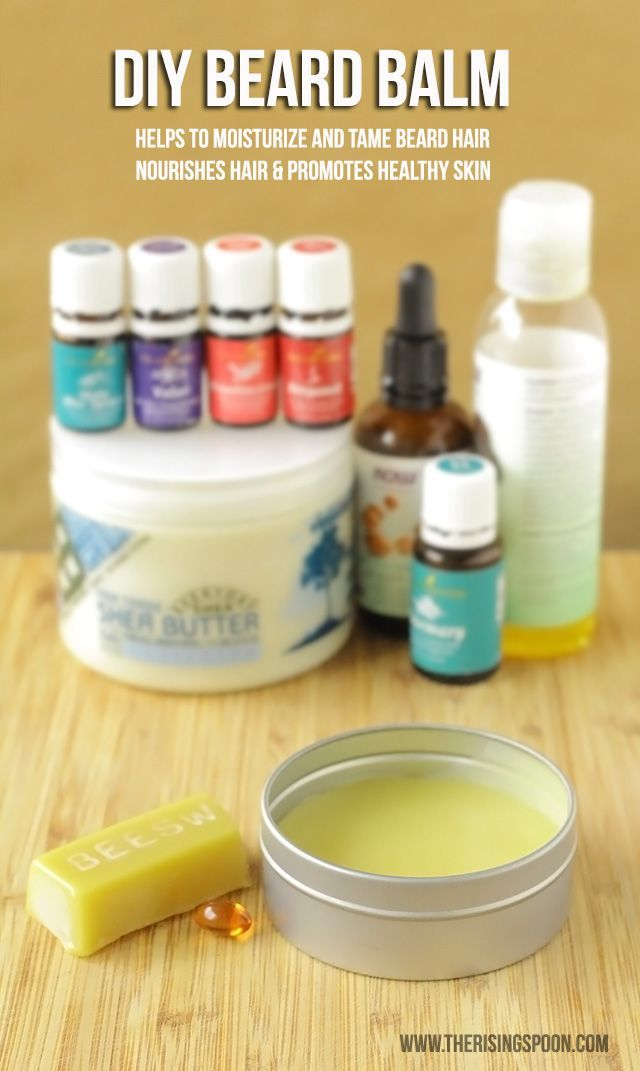 DIY Beard Balm -- A homemade beard balm recipe made with beeswax, jojoba oil, shea butter, argan oil, vitamin E oil, and essential oils. Apply after a shower or before you go out to moisturize and tame your beard. Makes an excellent DIY gift for a father, husband, boyfriend, brother, or friend in your life! | www.therisingspoon.com