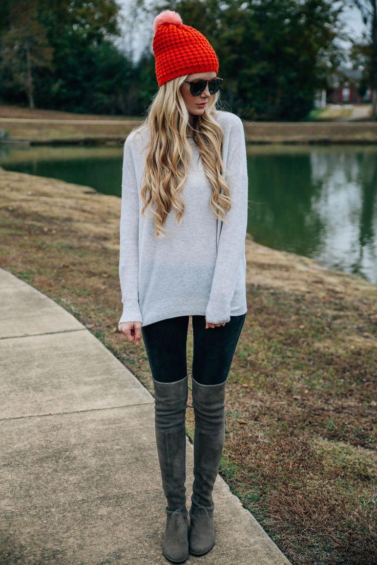 Amber Fillerup Clark is wearing her praline over-the-knee boots from Stuart Weitzman