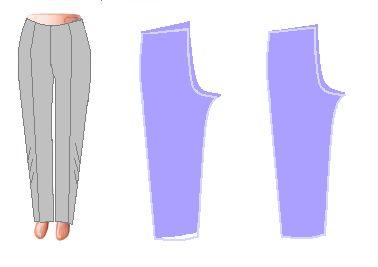 Если стрелки смотрят в разные стороны, значит: - задняя и передняя половинка неверно соединены по шаговому срезу. Задняя половинка сместилась вверх относительно передней. В первом случае – удалите наметку и приподнимите переднюю половинку брюк. Углубите линию банта, а образовавшийся излишек ткани переднего полотна заберите под пояс. Низки брюк тоже придется немного откорректировать.