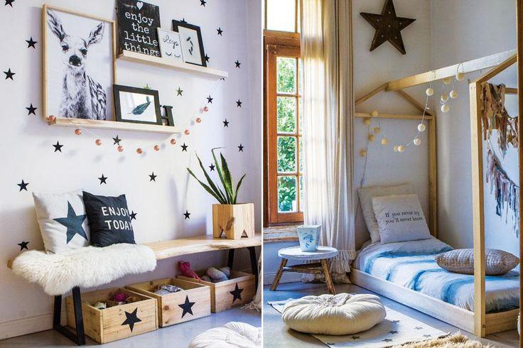 Una casa que se adapta a los cambios  En el cuarto de su hija Cata, cajas de madera para los juguetes debajo de un banco y estantes con cuadros. Al otro lado, cama baja en forma de casa en álamo natural ($49.000) con almohadones (desde $600) y acolchado teñido a mano.  Foto:Living /Santiago Ciuffo