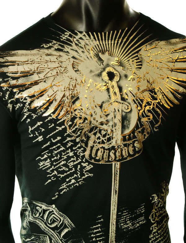 MENS BLACK LONG SLEEVE UFC MMA GOLD FOIL CLUB WINGS GRAPHIC CHAIN T-SHIRT