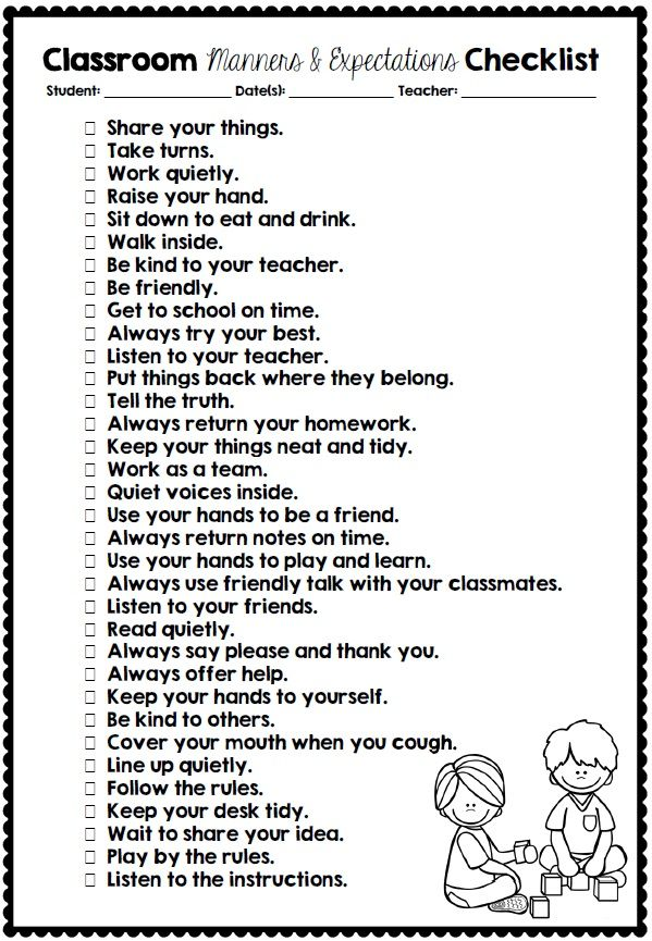 Classroom Manners and Expectations FREE checklist and rating scale download via Clever Classroom's blog. http://cleverclassroomblog.blogspot.com.au/2014/06/classroom-manners-and-expectations.html