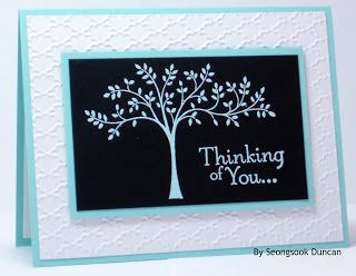 handmade greeting card from Seongsook's Creations... ... clean and simple format with lovely texture ... aqua, white and black ... like the top layer embossed in aqua  ... tree and a sentiment ... lovely card ...  Stampin'Up!