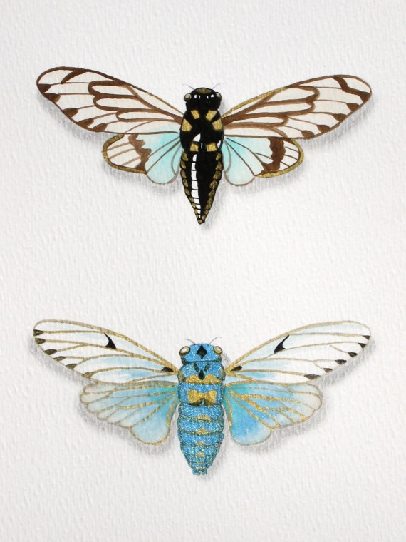 Blue Cicadas original painting insect art by WingedWorld on Etsy, $20.00