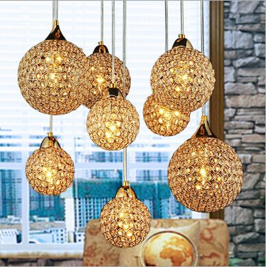luxurious large size golden K9 square crystal round Dia12&15&18cm led E14*8 heads pendant light living room dining room lamp1615 #Affiliate