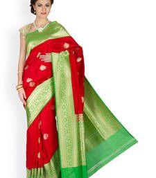 Buy Red  and  Green  hand_woven silk saree with blouse banarasi-silk-saree online