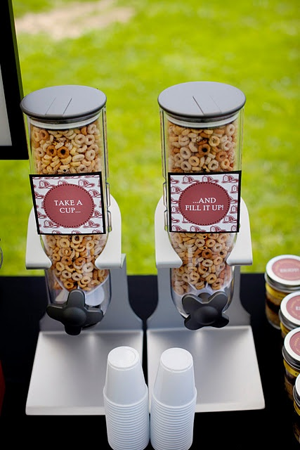 Super cute cheerio dispenser! First birthday idea. Anyone know where to get one of these?