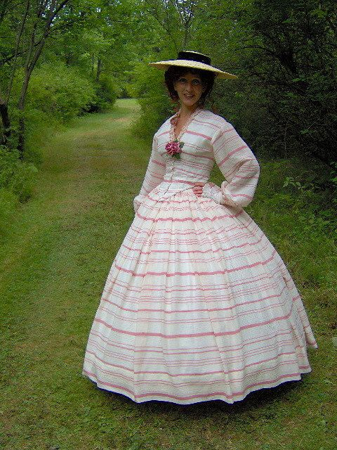 FOR ORDERS ONLY - 1800s Victorian Picnic Dress 1860s Civil War Summer Day Gown - Skirt Bodice  Reenacting Wedding. $250.00, via Etsy.
