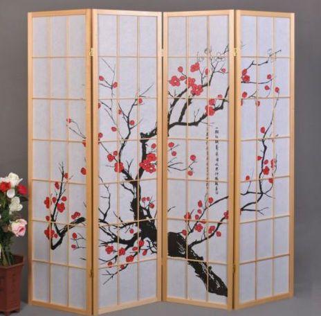 Cherry Tree Shoji Screen - 4 Panel - Natural