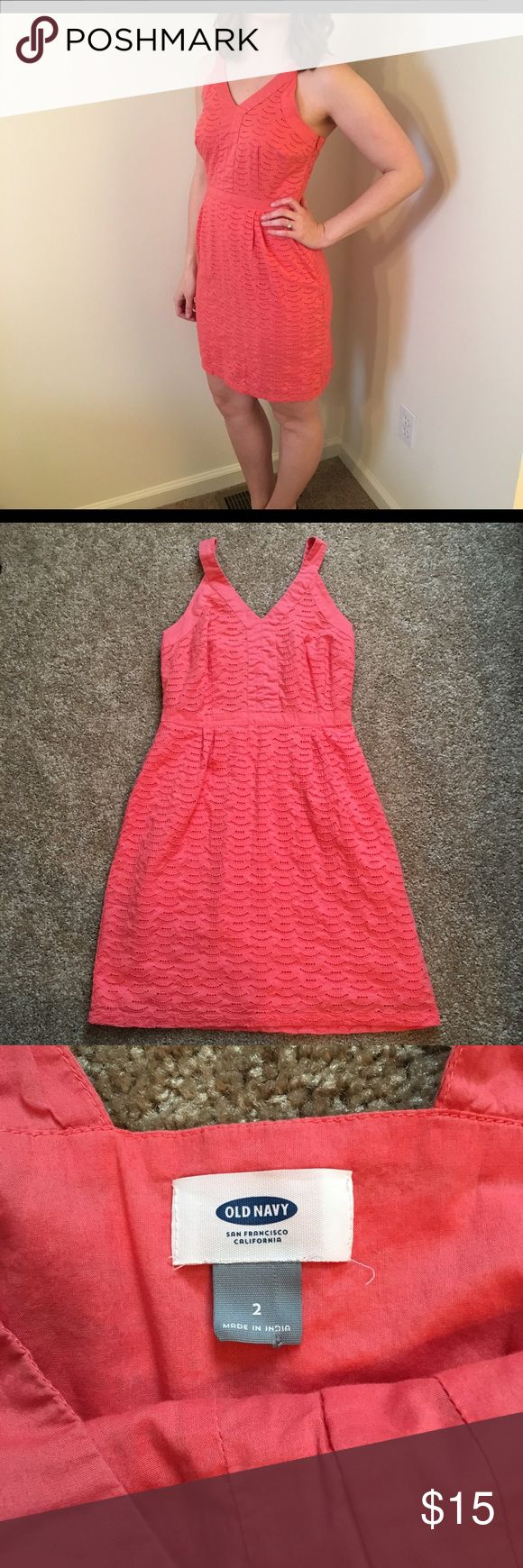 Old Navy coral sundress with eyelet detail This coral sundress is so adorable! It looks great styled with some cute wedges and a statement bracelet. It's in great condition! Old Navy Dresses
