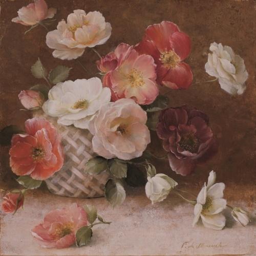 Obraz Róże w wiklinowym koszu
