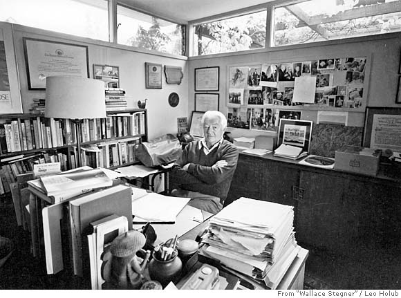 Wallace Stegner in his writing studio in the Los Altos Hills, California.