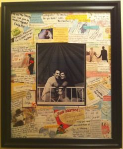 Put all of the wedding cards in a giant frame with a photo of the couple in the center and hang it somewhere in the house!!! So cute :)
