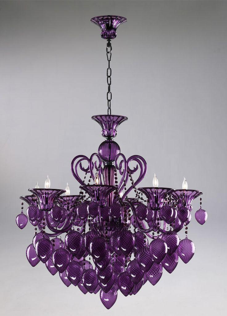 Retro Glamour Purple Glass Chandelier Horchow 8 Light Violet Murano Style   eBay