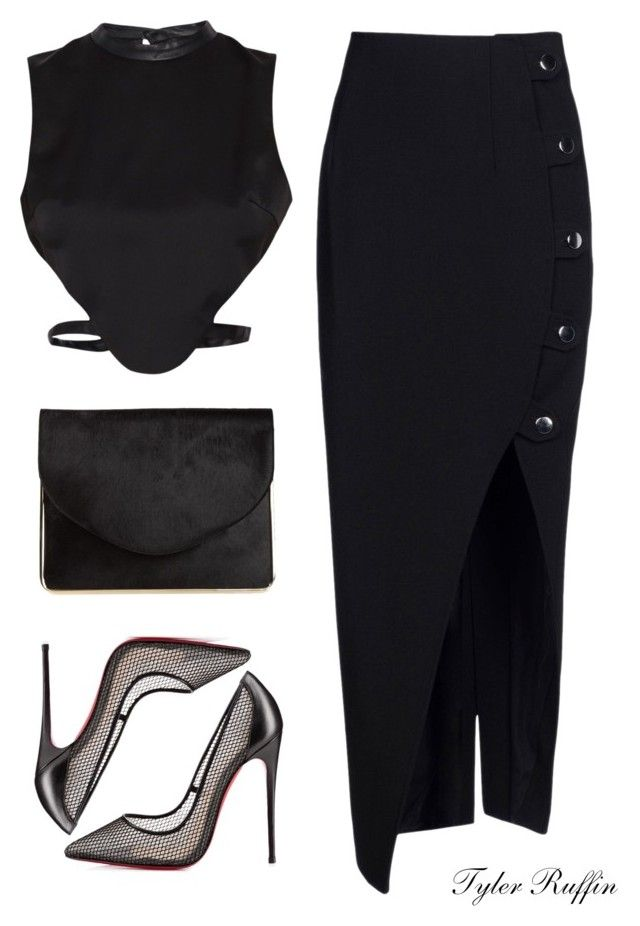 """Untitled #210"" by tylerisfashion ❤ liked on Polyvore featuring Anthony Vaccarello, Morgan, Christian Louboutin and Carven"