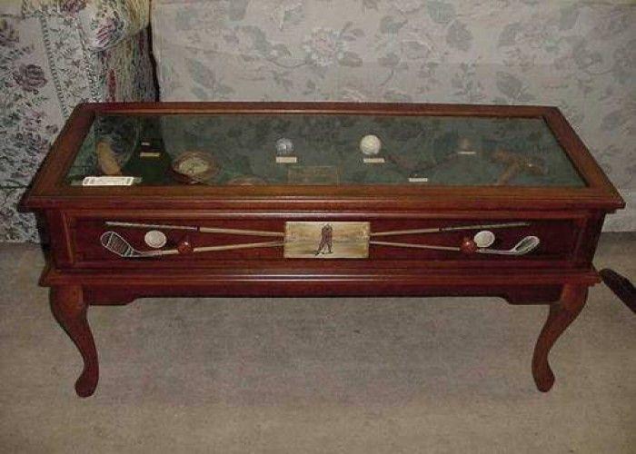 Golf Theme Coffee Table   Golf Memoriablia Display Coffee Table For Sale In  Fort Wayne,