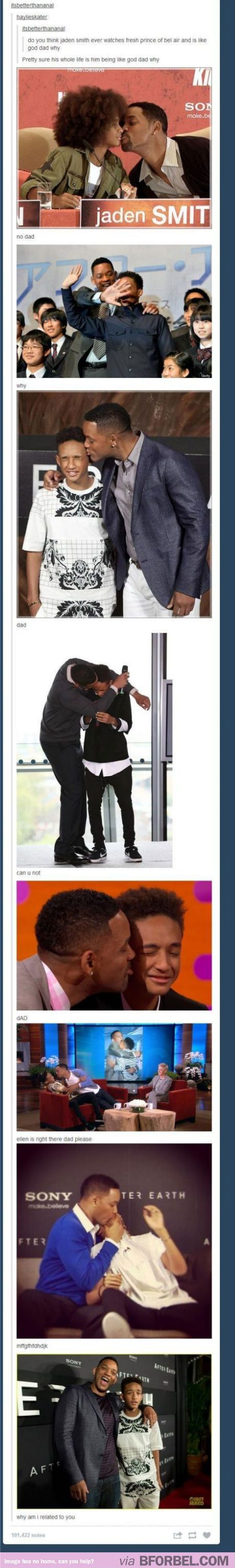 Will Smith is the world's most affectionate Dad. Jaden Smith will NEVER live this down.