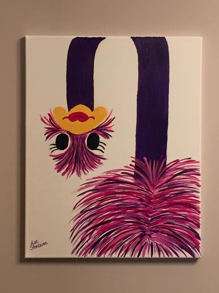Acrylic painting on canvas by lisa fontaine ostrich for Easy pictures to paint on canvas