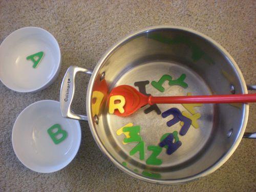 Alphabet Soup & other active letter activities ~ Sugar Tot