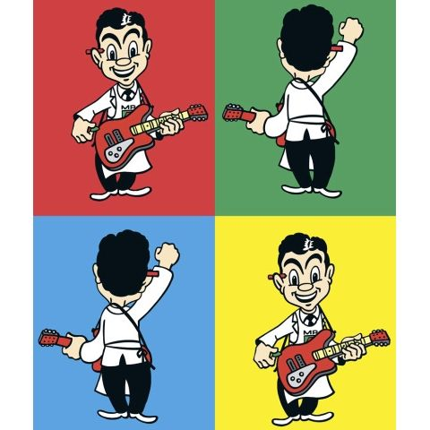 Four Four Time Print by Dick Frizzell - Four Square Man returns & he's playing guitar for the Great New Zealand Songbook