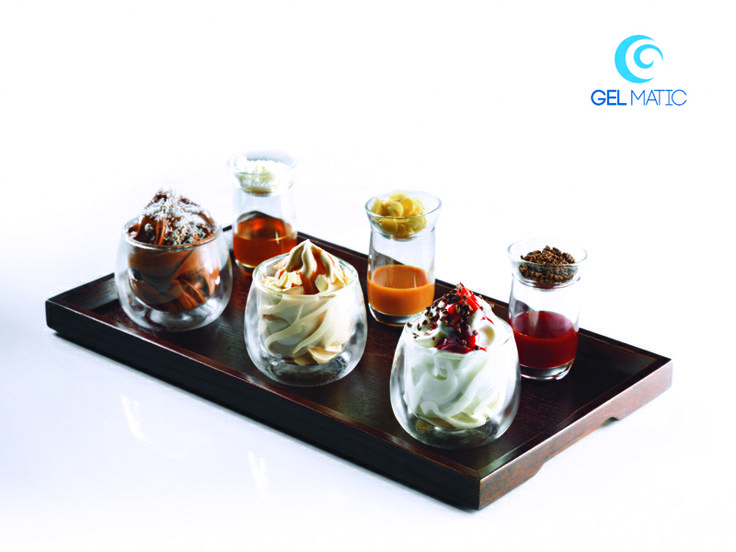 THREE-CHOCOLATE TASTING: white, milk and dark chocolate express gelato in mini glasses served with strawberry, dulce de leche and tropical sauces.