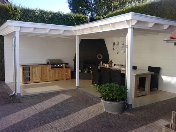Veranda met buitenkeuken idee n voor het huis pinterest uterum utomhus och id er - Modern prieel aluminium ...