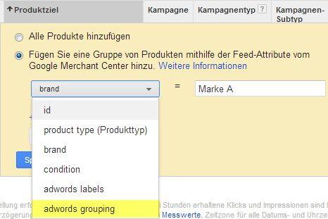 Auswahl der Produktziele für die Product Listing Ads (PLA) im Google AdWords Interface. Hier für den Parameter adwords_grouping