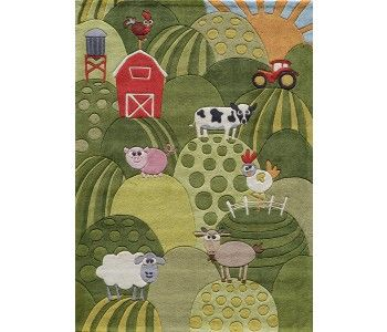 Steel Blue Novelty Lily-Whim Collection Childrens Hand Tufted Area Rug