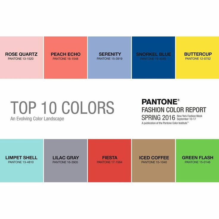 """""""Top 10 colors of 2016 @pantone #fashioncolorreport #fashioncolor #fashioncolors #pantone #spring2016 #spring2016collection #NYFW September 10-17"""""""
