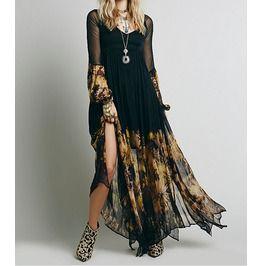 Vintage Floral Chiffon Maxi Dress