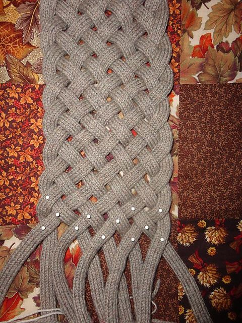 Free Pattern: Saxon by Victoria Magnus.  I bet I could make i-cords on my little French knitting doll and then braid them into something like this.  Even a scarf??