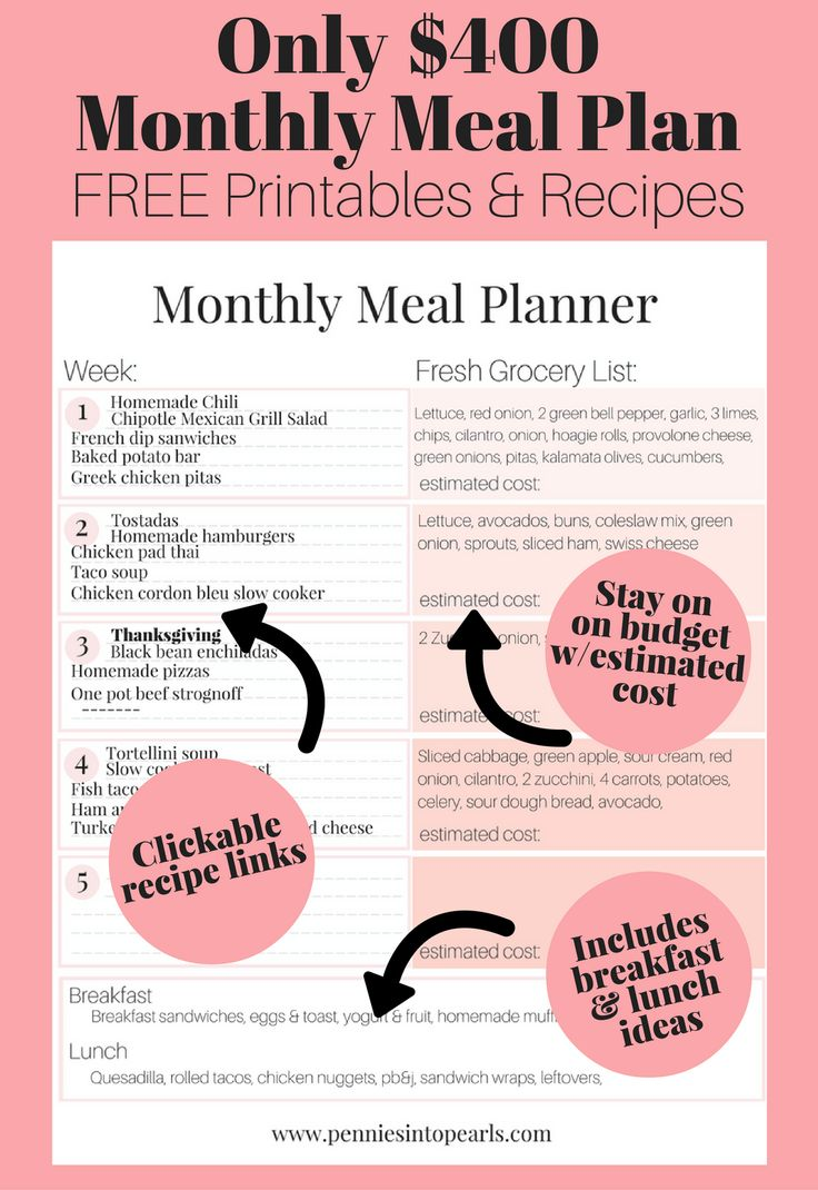 Designed by a mom, a free monthly meal plan that will feed a family of 5 for under $400! FREE Monthly Meal Planner Printable that includes recipes for every single meal idea. Stop thinking about dinner so much and enjoy it!