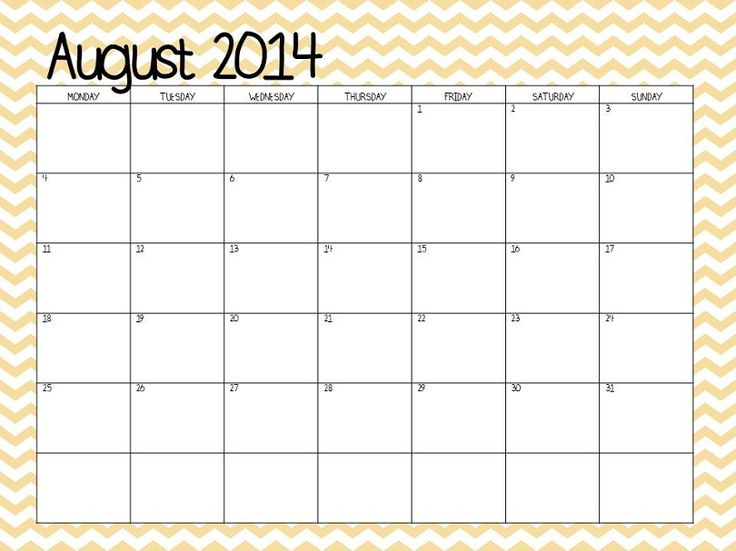 Free 2014-2015 calendar-- It starts on a Monday.  Light chevron or gray chevron
