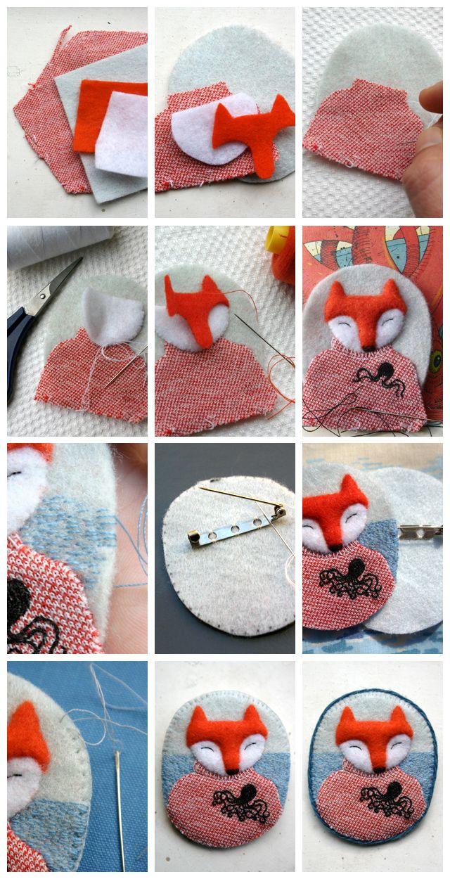 diy felt fox brooch accessory