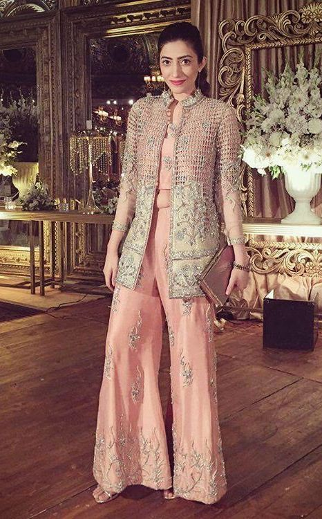 Pakistani Boutique Style Peach jacket style fancy dress  1ea41599c3