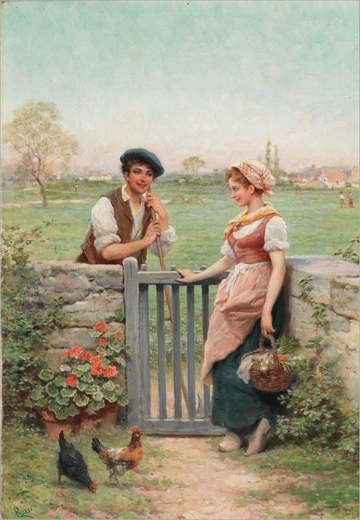 Lucio Rossi (1846-1913) Charlar junto a la valla