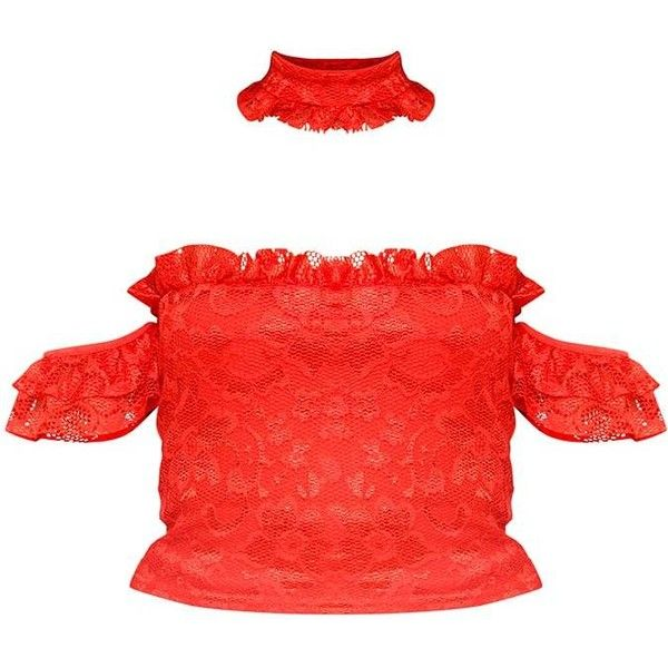 Red Lace Crop Top Choker ❤ liked on Polyvore featuring tops, lace crop top, lace top, lacy tops, cropped tops and cut-out crop tops